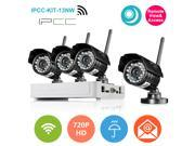 IPCC 4CH Mini NVR Kit 4pcs Wireless IP Camera 720P H.264 Onvif Android/iOS Connection DVR Security System