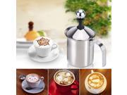 400ml Stainless Steel Milk Frother Double Mesh Milk Foamer DIY Fancy White Coffe Creamer for Cappuccino Latte