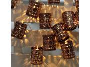 LIXADA 2.1M 20 LED Warm White Retro Vintage Metal Iron Hollow Cage Lantern Lamp Fairy String Light for Party Christmas Home Room Decor Gift