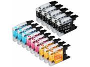 INKUTEN Compatible Brother LC75/LC71 Series (Combo Pack of 14) High Yield Inkjet Cartridges: 5 Black, 3 Cyan, 3 Magenta, 3 Yellow
