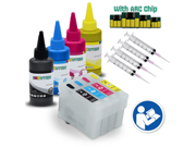 INKUTEN Easy-to-refill Cartridges With Resettable Chips Syringes & Needles for EPSON T252XL, T252, T254XL with 4x100ml Sublimation ink (for sublimation printing