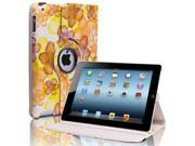 Yellow 360 Rotating Lucky Flowers PU Leather Case Cover Stand For iPad 4 3 2 LTE WiFi 3G