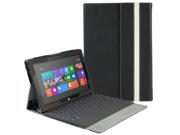 "Microsoft Surface RT Case - Slim Fit Folio PU Leather Case Smart Cover Stand For Microsoft Surface RT 10.6"" Windows 8 Tablet with Auto Sleep & Wake Feature Black"