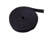 """Sticky Cable Cord Wire Tie Strap Tape (Black) - Fastening Adhesive 3/4"""" x 5 Yards 15FT Fastener One Wrap Hook Loop Roll Reusable Zip Ties Available to Cut Custom Length"""