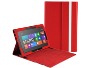 "Microsoft Surface RT Case - Slim Fit Folio PU Leather Case Smart Cover Stand For Microsoft Surface RT 10.6"" Windows 8 Tablet with Auto Sleep & Wake Feature Red"