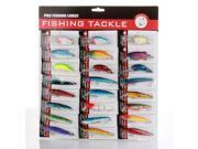 Lot 24 pcs Kinds of Fishing Lures Plastic Floating Crankbaits Minnow Baits Assorted Tackle Set Each with 2 Sharp Treble Hooks Bright Color for River Lake Fishing Beginner