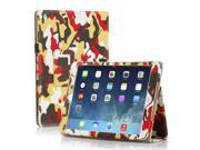 Apple iPad Air Case Slim Fit Leather Folio Smart Cover Stand For iPad Air 2 iPad Air with Automatic Sleep Wake Feature and Stylus Holder Camouflage Yellow