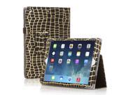 Apple iPad Mini Case Slim Fit Leather Folio Smart Cover Stand For iPad Mini 3 iPad Mini 2 with Automatic Sleep Wake Feature and Stylus Holder Gold Strip