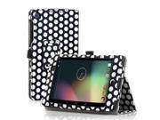 Google Nexus 7 Case- Slim Fit Folio PU Leather Case Smart Cover Stand For Google Nexus 7 2nd Gen 2013 Version with Auto Sleep & Wake Feature and Pen Loop / Stylus Holder / SD Card Slot Polka Dot Black