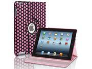 Apple iPad 2 3 4 Case Dot Pink 360 Degree Rotating Stand Cover PU Leather For iPad 4th Generation with Retina Display the New iPad 3 iPad 2 with Auto Slee