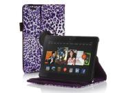 Amazon Kindle Fire HD 7 Case - 360 Degree Rotating PU Leather Case Smart Cover Stand For Amazon Kindle Fire HD  2014 Model with Wake & Sleep Feature and Stylus Holder Leopard Pattern Purple