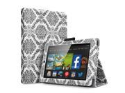 Kindle Fire HD 6 Case - Slim Fit Folio PU Leather Smart Cover Case Stand For Amazon Kindle Fire HD 6 6'' Display (2014 Edition) with Automatic Wake Sleep Feature and Stylus Holder Damask Black