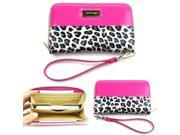 JAVOedge Smartphone Leopard Zipper Wallet Case with Wristlet for Apple iPhone, Samsung, HTC, Nexus (Pink)
