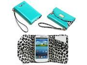 JAVOedge Leopard Clutch Wallet Case with Wristlet for the Samsung Galaxy S3 (Turquoise)