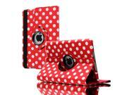 Apple iPad Leather 360° Rotating Polka Dots Leather Folio Case for iPad 2 / iPad 3 - Red with White Dots