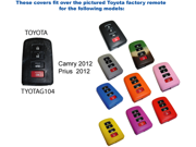 Green Silicone Key Fob Cover Case Smart Remote Pouches Protection Key Chain Fits: Toyota Camry 2012 -13