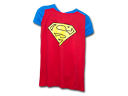 Superman Juniors T Shirt with Cape Blue and Red