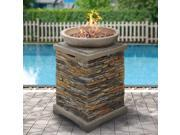BCP Outdoor Patio Fire Bowl Firepit With Lava Rocks Stone Base Propane