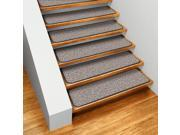 Set of 12 Skid-resistant Carpet Stair Treads - Denim Blue - 9 In. X 36 In.