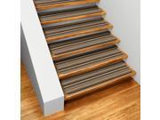 Set of 15 Skid-resistant Carpet Stair Treads - Mocha Brown Stripe - 8 In. X 27 In.