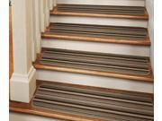 Set of 15 Tape-Down Carpet Stair Treads - Mocha Brown Stripe - 9 In. X 36 In.