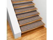 Set of 12 Skid-resistant Carpet Stair Treads - Black Ripple - 8 In. X 27 In.