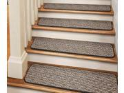 Set of 12 Tape-Down Carpet Stair Treads - Black Ripple - 8 In. X 30 In.