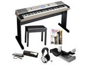 Yamaha YPG-535 88 Key Piano + Yamaha Padded Piano Bench, Piano Style Sustain Pedal, Stereo Headphones, Keyboard Dust Cover and Alfred's Teach Yourself to Play Piano