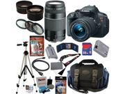 Canon EOS Rebel T5i 18.0 MP CMOS Digital Camera with EF-S 18-55mm f/3.5-5.6 IS STM Zoom Lens + EF 75-300mm f/4-5.6 III Telephoto Zoom Lens + Telephoto & Wide Angle Lenses + 12pc Bundle 32GB Deluxe Acc