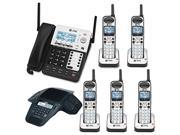 Cordless Phone: AT&T SB67158 SynJ 4-Line Extendable Range Corded-Cordless Phone System with 4 Extra Handsets and ERIS Station Conference Speakerphone