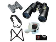 Bushnell 121225 Legacy WP 10-22x 50mm Binocular + Binocular Harness + Folding Roof Prism Binoculars + Cleaning Cloth + Cleaning and Care Kit + Wide Strap