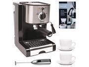 Capresso Pump Espresso and Cappuccino Machine Bundle with Knox Milk Frother, Descaler and Tiara Cup & Saucer 2-Pk 9SIV16865V3319