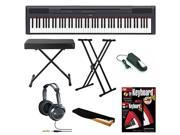 Yamaha P-115B 88-Key Graded hammer standard (GHS) Digital Piano (Black) Bundle with Knox Double X Stand Knox Wide Bench Sustain Pedal Dust Cover Headphones and FastTrax Book and DVD