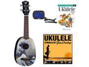 Luna Great Wave Soprano Ukulele w/ Chromatic Tuner & Strings & Beginner's DVD