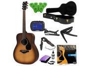 Yamaha FG700S Folk Acoustic Guitar ( Sandburst ) with Knox Hardshell Case & Deluxe Accessory Bundle