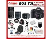 Canon EOS Rebel T3i Digital 18 MP CMOS SLR Camera Body (600D) W/ 5 Extra Lens+3 Piece Filter Kit+1 Battery and charger +16gb Sdhc Memory Card + Soft Carrying Cas