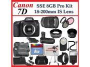 Canon EOS 7D with Canon 18-200mm Lens + SSE PRO Monster Lens, Battery Grip & Tripod Accessories Package (Everythng you Need)
