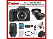 Canon EOS 7D Digital SLR Camera Kit with 70-300mm Lens + 0.45X Wide Angle Lens, 2X Telephoto Lens, UV Filter, 32GB Memory Card & MORE!