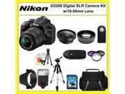 "Nikon D3200 Digital SLR Camera Kit with 18-55mm Lens. Also Includes: 0.45X Wide Angle Lens, 2X Telephoto Lens, 3 Piece Filter Kit(UV-CPL-FLD), 16GB Memory Card, 50"" Tripod, Slave Flash, Carrying Case"