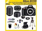 Nikon D5100 16.2MP CMOS Digital SLR Camera with 3-inch Vari-Angle LCD Monitor 5 Lens Sports Package! With many Accesories