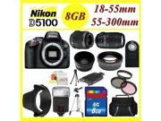 Nikon D5100 Digital SLR Camera w/ 18-55mm + 55-300mm lens + HQ Wide & Telephoto Lens! With Full ACCESORY-KIT