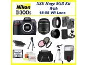 Nikon D300s 12.3mp Digital SLR Camera with 3inch LCD Display (Includes Manufacturer's Supplied Accessories) with Nikon 18-55 VR Lens + Huge 8GB, Lens & Tripod Deluxe Accessory Package