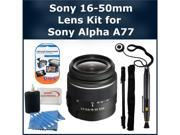 Sony 16-50mm Lens Kit for Sony Alpha SLT-A77 DSLR Camera. Package Includes: Sony 16-50mm f/2.8 Standard Zoom Lens, Lens Cap Keeper, Monopod, LCD Screen Protectors, Lens Cleaning Pen, & Much Much More