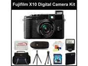 Fujifilm X10 Digital Camera Kit Includes: Fujifilm X-10 Camera, Extended Life Replacement Battery, 16GB Memory Card, Memory Card Reader, Camera Flash, Gripster Tripod & More