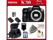 Pentax K-30 Digital Camera Body 2 Replacement Batteries, Rapid Travel Charger, 8GB SD Card, SD Card Reader, Flash, Large Soft Carrying Case