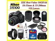 Nikon D5100 Digital SLR Camera with Nikon 18-55mm VR Lens, Nikon 55-200mm VR Lens, 3 Extra Lens,  16GB SDHC Memory Card, Plus More