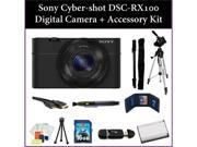 Sony Cyber-Shot DSC-RX100 (RX100) Digital Camera Kit. Includes: 16GB Memory Card + Reader, Extended Life Replacement Battery, Tripod, Monopod, Carrying Case & M