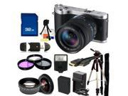 Samsung NX300 Mirrorless Digital Camera with 18-55mm f/3.5-5.6 OIS Lens (Black). Includes 0.45X Wide Angle Lens, 2X Telephoto, 3 Piece Filter Kit (UV-CPL-FLD), 32GB Memory Card, Tripod, Monopod & More