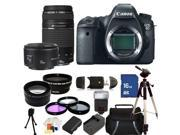 Canon EOS 6D Digital SLR Camera with 75-300mm f/4.0-5.6 III USM & 50mm f/1.8 II Lenses. Includes: Wide Angle & Telephoto Lenses, 3 Piece Filter Kit (UV-CPL-FLD