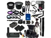 The EVERYTHING YOU NEED Package for Nikon D3100, Nikon D3200, Nikon D5100, Nikon D5200 DSLR Cameras. Includes: Wide Angle & Telephoto Lenses, Filters, Replacement Batteries, Flash, Tripod & Much More!